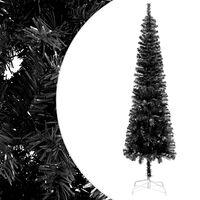 vidaXL Pom de Crăciun artificial subțire, negru, 150 cm