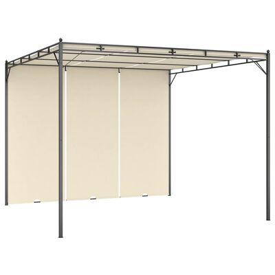 vidaXL Pavilion de grădină cu perdea laterală, crem, 3x3x2,25 m