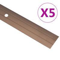 vidaXL Profile de pardoseală, 5 buc., maro, 90 cm, aluminiu