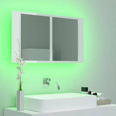 vidaXL Dulap de baie cu oglindă și LED, alb extralucios, 80x12x45 cm