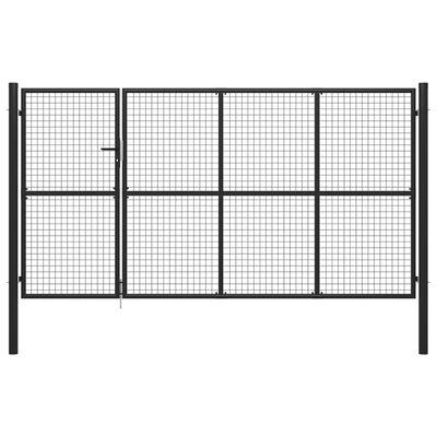 vidaXL Poartă de grădină, antracit, 350 x 175 cm, oțel