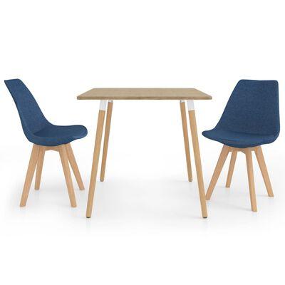 vidaXL Set de masă, 3 piese, albastru