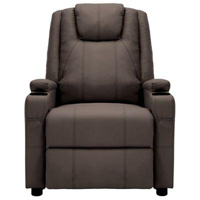 vidaXL Fotoliu masaj rabatabil electric, maro, piele ecologică