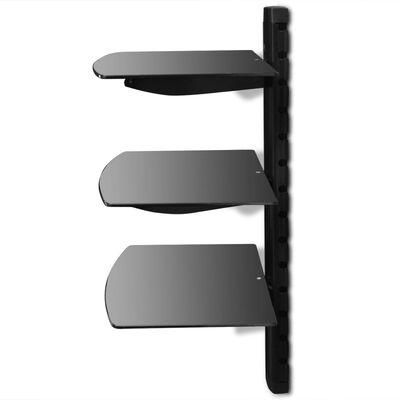 vidaXL Raft DVD din sticlă montat pe perete cu 3 niveluri negru