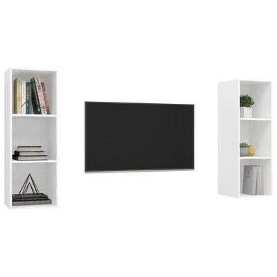 vidaXL Dulapuri TV montaj pe perete, 2 buc., alb extralucios