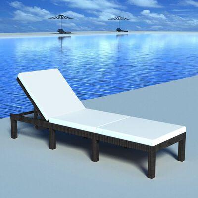 vidaXL Șezlong de plajă cu pernă, negru, poliratan