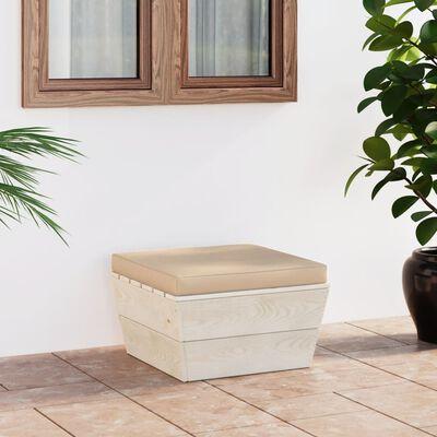 vidaXL Taburet de grădină din paleți cu pernă, lemn de molid tratat
