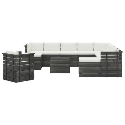 vidaXL Set mobilier grădină din paleți cu perne, 12 piese, lemn de pin