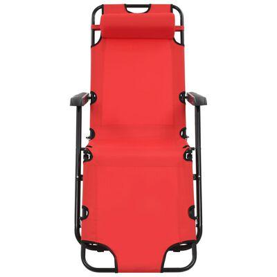 vidaXL Șezlonguri plajă pliabile suport picioare 2 buc. roșu oțel