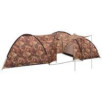 vidaXL Cort camping tip iglu, 8 persoane, camuflaj, 650x240x190 cm