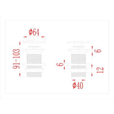 vidaXL Ventil scurgere push, fără preaplin, gri, 6,4x6,4x9,1 cm