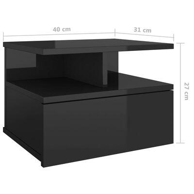 vidaXL Noptiere suspendate, 2 buc, negru lucios, 40x31x27 cm, PAL