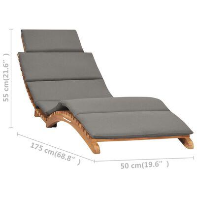 vidaXL Șezlong pliabil cu pernă gri închis, lemn masiv tec