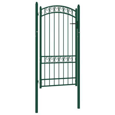 vidaXL Poartă de gard cu arcadă, verde, 100x175 cm, oțel
