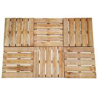 vidaXL Plăci de pardoseală, 6 buc., maro, 50 x 50 cm, lemn