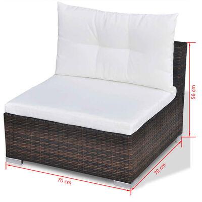 vidaXL Set mobilier de grădină cu perne, 10 piese, maro, poliratan