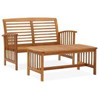 vidaXL Set mobilier de grădină, 2 piese, lemn masiv de acacia