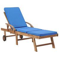 vidaXL Șezlong cu pernă, albastru, lemn masiv de tec
