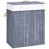 vidaXL Coș de rufe din bambus, gri, 83 L