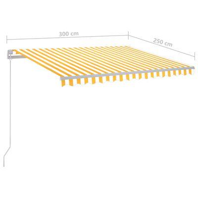 vidaXL Copertină retractabilă manual cu LED, galben și alb, 300x250 cm