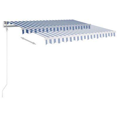 vidaXL Copertină retractabilă manual cu LED albastru și alb 300x250 cm
