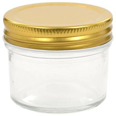 vidaXL Borcane din sticlă pentru gem, capace aurii, 48 buc, 110 ml