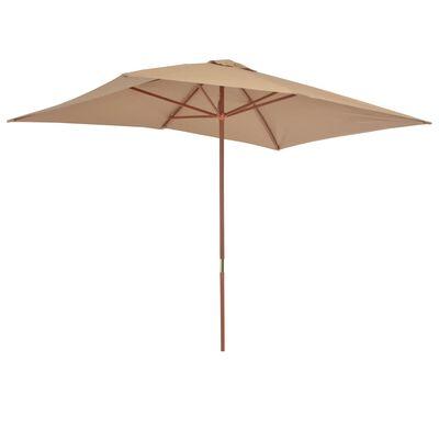 vidaXL Umbrelă de soare, exterior, stâlp lemn, 200x300 cm, gri taupe