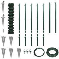 vidaXL Gard plasă de sârmă cu țăruși de fixare, verde, 1,97x15 m