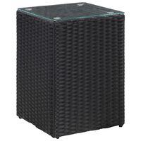 vidaXL Masă laterală cu blat de sticlă, negru, 35x35x52 cm, poliratan