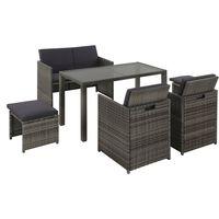 vidaXL Set mobilier de exterior cu perne, 6 piese, gri, poliratan