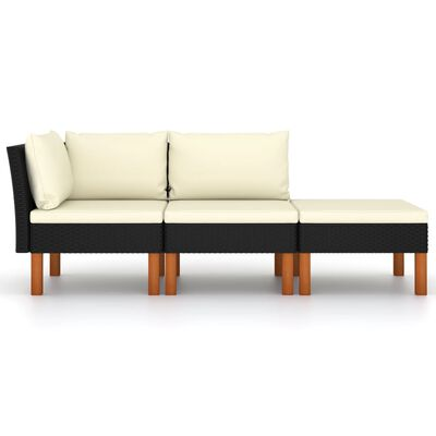 vidaXL Set mobilier grădină, 3 piese, poliratan & lemn masiv eucalipt