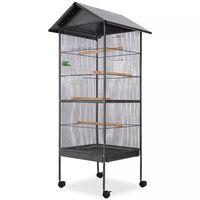 vidaXL Cușcă de păsări cu acoperiș, oțel, 66 x 66 x 155 cm, negru