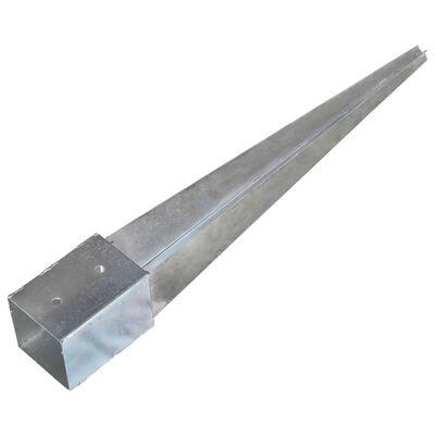 vidaXL Țăruși de sol, 12 buc., argintiu, 10x10x76 cm, oțel galvanizat