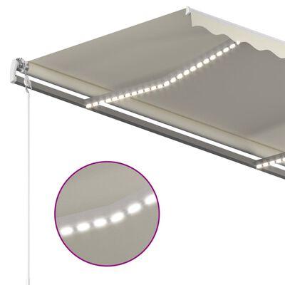 vidaXL Copertină retractabilă manual cu LED, crem, 450x300 cm
