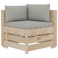 vidaXL Canapea de grădină din paleți, colțar, perne gri taupe, lemn