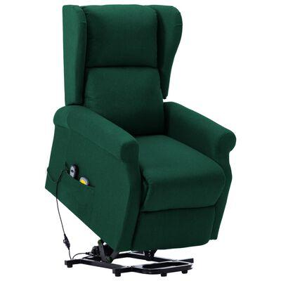vidaXL Fotoliu de masaj cu ridicare pe verticală, verde închis, textil