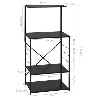 vidaXL Dulap pentru cuptor de microunde, negru, 60x39,6x123 cm, PAL