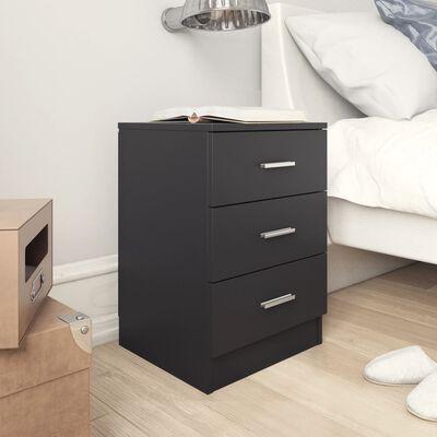 vidaXL Noptiere, 2 buc., negru, 38 x 35 x 56 cm, PAL