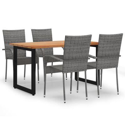vidaXL Set de masă pentru grădină, 5 piese, gri, poliratan