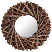 vidaXL Oglindă de perete, 40 cm, tec, rotund