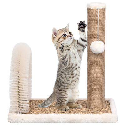 vidaXL Ansamblu pisici, perie arcuită de îngrijire & stâlp de zgâriat