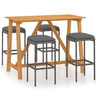 vidaXL Set mobilier de bar de grădină cu perne , 7 piese , gri
