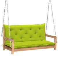 vidaXL Balansoar cu pernă verde crud, 120 cm, lemn masiv tec