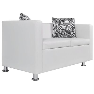 vidaXL Canapea cu 2 locuri,  alb, piele artificială