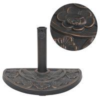 vidaXL Suport umbrelă de soare, rășină, semicerc, bronz, 9 kg