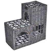 Ansamblu salcie casă pisici/pat/castel/stâlp pentru gheare cu pernă