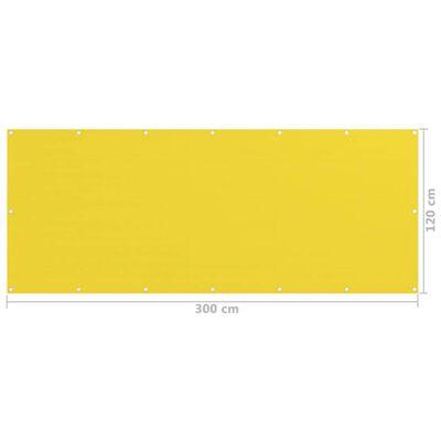 vidaXL Paravan de balcon, galben, 120x300 cm, HDPE