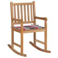 vidaXL Scaun balansoar cu pernă model carouri roșii, lemn masiv de tec