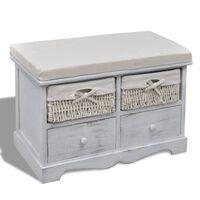 vidaXL Bancă de depozitare, alb, 62x33x42 cm, lemn de paulownia