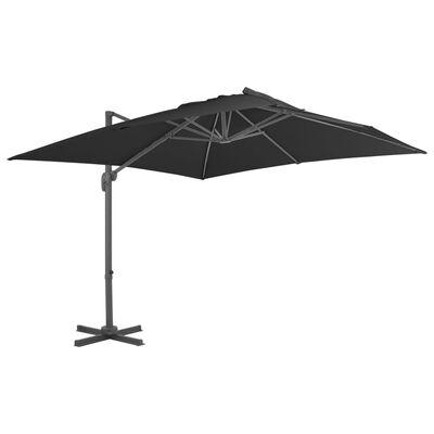 vidaXL Umbrelă suspendată cu stâlp din aluminiu antracit 300x300 cm